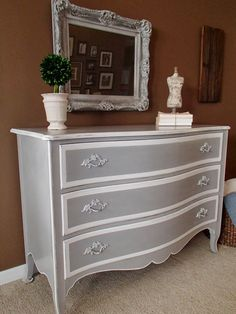Paris Grey and Pure White  http://stephsnewagain.blogspot.com/2014/01/french-chest-in-grey-white.html - love the contrast of the grey & white