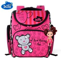 Visit to Buy  Children School Bags for Girls Cute Bear Waterproof  Orthopedic School Backpacks With Doll Pendant Kids Book Bag Mochila Escolar a496f6f032