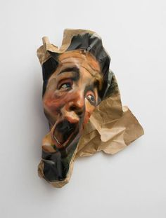 "WHO: Rupert Shrive WHAT: ""Scream."" Paint and folded paper. Distortion Photography, Portrait Photography, Pablo Picasso, Collages, Identity Art, A Level Art, Gcse Art, Human Condition, Photography Projects"