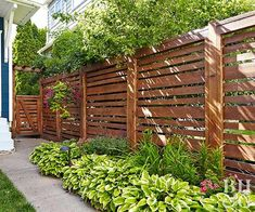 Urban Farmhouse Makeover Horizontal cedar slats that are spaced a few inches apart so the fence isn't a solid mass that closes in the yard.Horizontal cedar slats that are spaced a few inches apart so the fence isn't a solid mass that closes in the yard. Diy Fence, Backyard Fences, Fenced In Yard, Backyard Landscaping, Patio Fence, Front Yard Fence Ideas, Privacy Fence Landscaping, Outdoor Fencing, Landscaping Edging