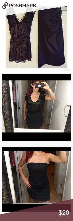2 LBD for the price of one! Speechless and H&M I'm selling these 2 together! I will start with the first dress in the pic.   Brand- Speechless Size- Medium Style- Little black dress Color- Black with tan under slip Materials- 100% polyester Condition- Good shape (2 small snags on right side of dress) Made in China   Brand- H&M  Size- 8 (medium)  Style- strapless  Color- Black  Materials- 63% cotton 34% polyester 3% elastane  Condition- Like New  Made in Bangladesh  Don't miss out of this 2…
