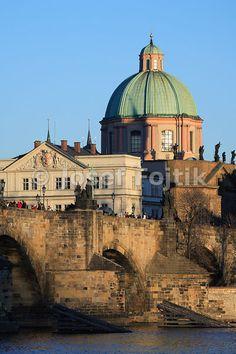 Charles Bridge and the Church of Saint Francis Seraph, Prague, Czech Republic
