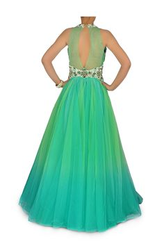 Aqua blue and green shaded Indo Western Bridal gown – Panache Haute Couture