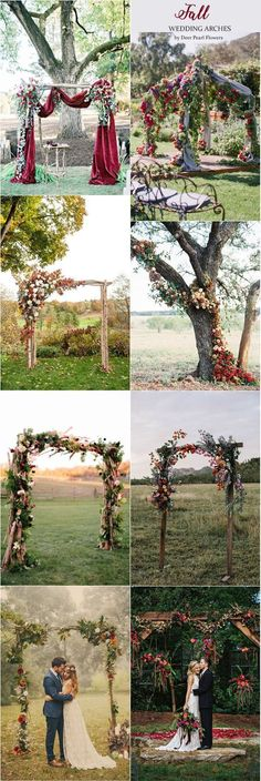 Fall wedding arches & Autumn alter wedding ideas / http://www.deerpearlflowers.com/wedding-ceremony-arches-and-altars/5/ #WeddingIdeasBoda