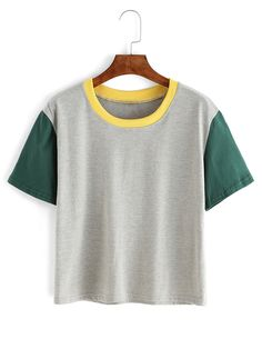 Contrast Crew Neck Grey T-shirt Mobile Site