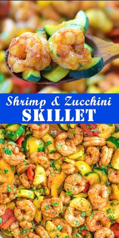 And Zucchini Skillet This Easy Shrimp And Vegetable Skillet Makes A Healthy Quick And Delicious Dinner Packed With Wild Caught Shrimp Tender Zucchini And Sweet Bell Peppe. Shrimp Recipes Easy, Easy Dinner Recipes, Diet Recipes, Easy Meals, Cooking Recipes, Healthy Recipes, Healthy Scallop Recipes, Healthy Quick Dinners, Shrimp And Scallop Recipes