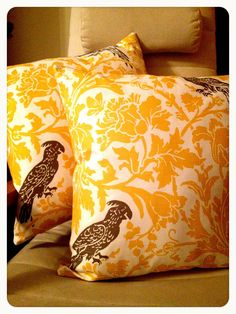 Cornfield Parrot cushion set by LukaMish on Etsy, $60.00