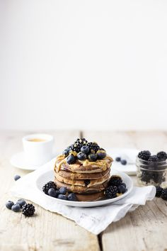Amazing gluten-free Buttermilk Buckwheat Pancakes with Blueberries and Peanut Butter from Nutsnmore via Fitnessworld24.net on Top. Gluten free, healthy