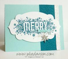 Stampin' Up! Holiday Catalog Seasonally Scattered Christmas card #stampinup #christmas www.juliedavison.com