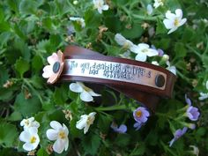 www.MyBellaMarketplace.com  #MyBellaMarketplace  The Only Disability In Life Is A Bad Attitude Custom Hand Stamped Mixed Metals Leather Cuff by MyBella