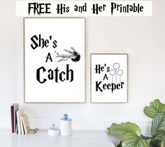 She's a Catch & He's a Keeper Free Printable