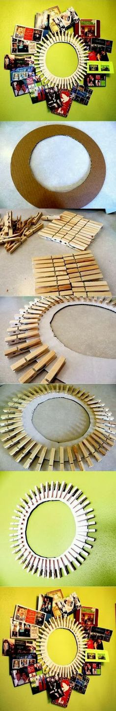 DIY Clothespin Picture Frame. Sorry no link or directions other than the picture tutorial shown. Easy enough. I think I would paint the clothespins a bright color.
