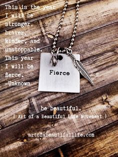 Fierce Engraved Quote Necklace - Feather Jewelry - Metallic by simply topaz | https://www.etsy.com/listing/248519943/fierce-engraved-quote-necklace-feather