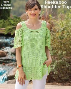 Peekaboo Shoulder Top from the Summer 2018 issue of Crochet! Magazine. Order a digital copy here: https://www.anniescatalog.com/detail.html?prod_id=142779.