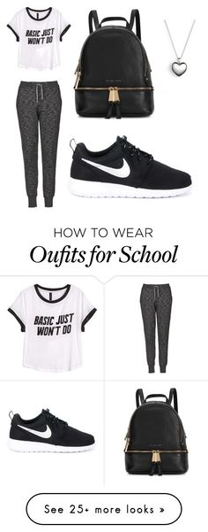 """""""School outfit."""" by jahliyaxox on Polyvore featuring Topshop, H&M, NIKE, Michael Kors and Pandora"""