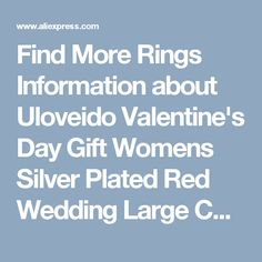 Find More Rings Information about Uloveido Valentine's Day Gift Womens Silver Plated Red Wedding Large Colored Ring Red Green Zircon Sets Ringen Jewelry 2016 J501,High Quality ring beer bottle opener,China ring spiral Suppliers, Cheap ring cast from Uloveido Official Store on Aliexpress.com