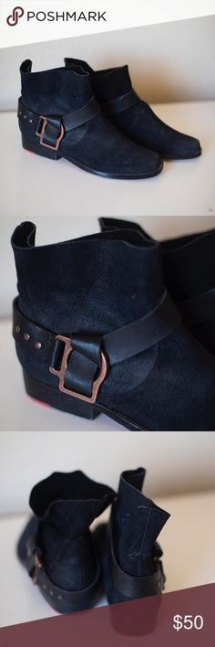 Cool Joe's Jeans Booties These super cool booties are made of black suede with copper colored buckle details on the outsides. Soft top style, which means they look so cute with a pair of skinnies or a short skirt! I've only worn these boots a couple of times as they are a tad too small for my wide size 7s. Soles are a bit scuffed but the uppers, leather & buckles are all in perfect condition. So bummed to be selling but hope they go to a good home! Joe's Jeans Shoes Ankle Boots & Booties