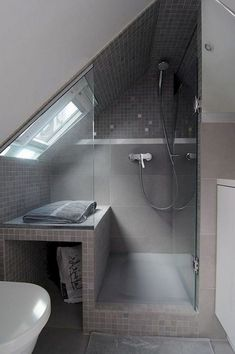 Admirable Attic Bathroom Makeover Design Ideas - Page 62 of 65 Attic Shower, Small Attic Bathroom, Small Bathroom With Shower, Mold In Bathroom, Loft Bathroom, Bathroom Layout, Master Bathroom, Bathtub, Bathroom Ideas