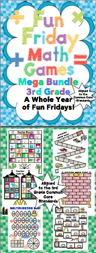 Fun Friday Math Games: Make Friday something to look forward to all year long! This pack has 40 Common Core aligned Fun Friday math games that promote higher level thinking. You can play them on Friday and use them in centers or for fast finishers the next week! $