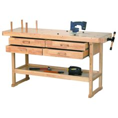"60"" hardwood workbench with 4 drawers"