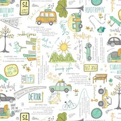 Road Trippin Icons on White Fabric- End of Bolt by Terri Degenkolb - Windham Fabrics Cotton Quilting Fabric, Cotton Quilts, Camping Fabric, Windham Fabrics, Block Of The Month, Sewing Material, Road Trippin, Easy Quilts, Longarm Quilting