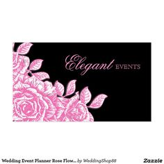 Wedding Event Planner Rose Flower Pink Black