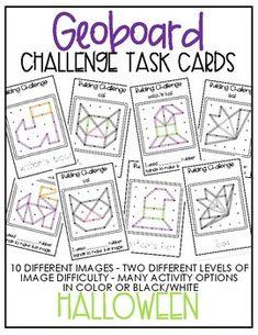 Geoboard Challenge Task Cards - Halloween1