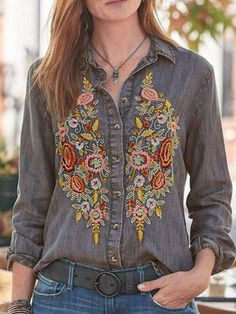 Autumn Denim Shirt, Casual Lapel Long Sleeve Floral Embroidered Tunic Tops up to Shirts & Tops, Shirt Blouses, Casual Shirts, Denim Shirts, Casual Sweaters, Denim Jeans, Casual Tops For Women, Blouses For Women, Chemises Country