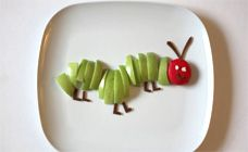 Hungry caterpillar (use a strawberry or another red fruit instead of cheese for a vegan version)