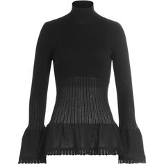 Alberta Ferretti Virgin Wool Turtleneck Pullover ($330) ❤ liked on Polyvore featuring tops, sweaters, black, turtle neck top, peplum tops, cut out top, peplum sweater and pullover sweaters