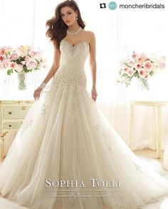 The Savannah Choker Necklace and the Marquesa Gown! #Repost @moncheribridals ・・・ This much beauty needs no introduction @SophiaTolli #Y11637 – Marquesa #bride #weddingdress #bridal #bridetobe #sophiatolli #davidtuteraembellish — with David Tutera, Sophia Tolli and Mon Cheri Bridals.
