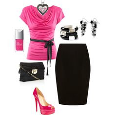 Pink n Black, created by cathyross1963 on Polyvore