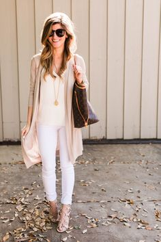 white jeans outfit, white tank, long cream cardigan, julie vos gold pendant, lv neverfull tote 21, ivanka trump lace up sandals, spring neutrals outfit, transitional outfit
