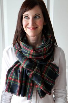 DIY No-Sew Blanket Scarf | How to Make a Blanket Scarf from @momadvice | Plaid Scarf | Shop plaid fabric from @joannstores