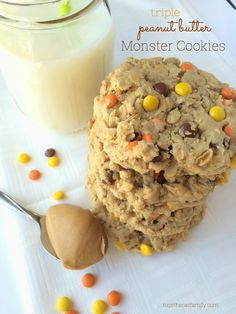 These triple peanut butter monster cookies are a peanut butter lovers dream! Thick, chewy, soft monster cookies loaded with peanut butter, oats, peanut butter chips, and reeses pieces. These are insanely delicious & addicting. A tall glass of cold milk is a must have.