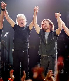 Eddie Vedder of Pearl Jam & Roger Waters of Pink Floyd at the 121212 benefit concert for hurricane Sandy victims...