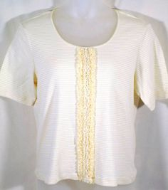 Chicos 3 Top Yellow Stripe Ruffle Front Short Sleeve #Chicos #KnitTop #Casual