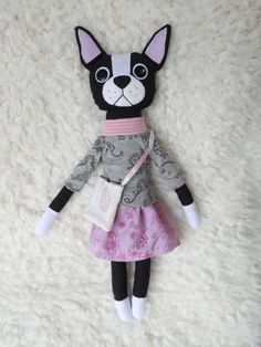 Kiki the Boston terrier - one of a kind doll, soft toy