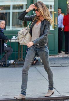 Gisele Bundchen wearing Loewe May bag Tom Ford Marko Gunmetal 08B sunglasses New York City April 14 2013