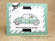Stampin' Up! Beautiful Ride Love Bug Car with paper from the It's My Party Designer Paper Stack. www.mystamplady.com