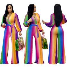 343b1043b24 Sexy Bodycon Deep V Nightclub Rainbow Colorful Gradient Women Clubwear  Jumpsuit. Kathe Lavoie · Jumpsuits   Rompers