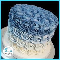 Blue Buttercream Rosette Ombre Cake