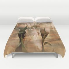 Vintage Water Rose Abstract Duvet Covers by Judy Palkimas