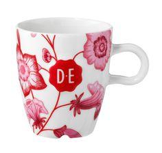 D.E Hylper koffiekop - wit rood, white red #coffee #cup #kop #HylperHeritage #DouweEgberts