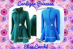 Cardigan princesa em crochê P, M, G e GG explicação # Elisa croche