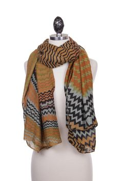 A pop of color and pattern will show your fun personality and keep u warm! Zip Zag Brown Striped Womens Scarf
