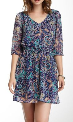Double- V Paisley Dress