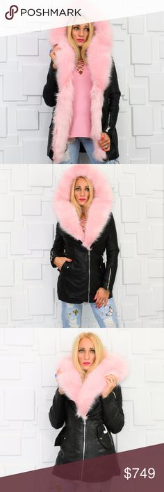 ❤MMC PICK❤PINK FUR DETAILED JACKET / COAT❤ This jacket weighs close to 5lbs. Cannot be bundled with other items or shipping will cost additional fee.   OH my GOODNESS, DO NOT MISS OUT ON THIS COAT!  This sassy faux leather jacket trimmed in GORGEOUS faux pink fur with edgy zipper details and the MOST plush black faux fur lining ever!! A must have to look amazing and stay warm for the FALL/WINTER SEASON!   Pink faux fur is removable.  Modeled in a size small Material.  60% polyurethane…