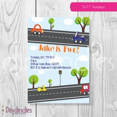 Transport Car Boy Birthday Party Invitation    by Dindindies, £5.00