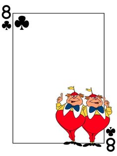 "Tweedledum & Tweedledee - 8 of Clubs - Playing Card - Project Life Journal Card - Scrapbooking ~~~~~~~~~ Size: 3x4"" @ 300 dpi. This card is **Personal use only - NOT for sale/resale** Logo/clipart belongs to Disney. Font is Card Characters http://haroldsfonts.com/portfolio/card-characters/ *** Click through to photobucket for more versions of this card ***"